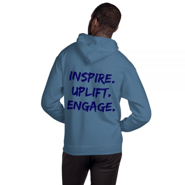 Man wearing Indigo Blue Inspire Uplift Engage Hoodie with hood off back view The Ashe Academy Store