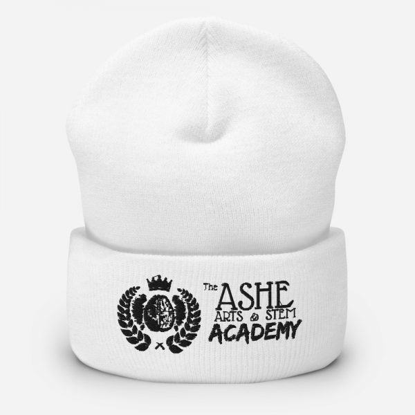 White Beanie sitting up The Ashe Academy Store