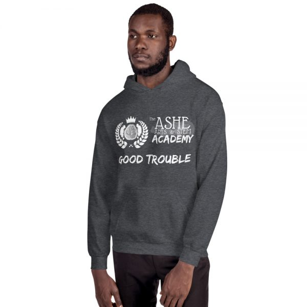 Man wearing Dark Heather Good Trouble Hoodie facing right The Ashe Academy Store