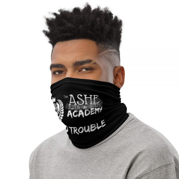 Man wearing Black Neck Gaiter Left side profile The Ashe Academy Store