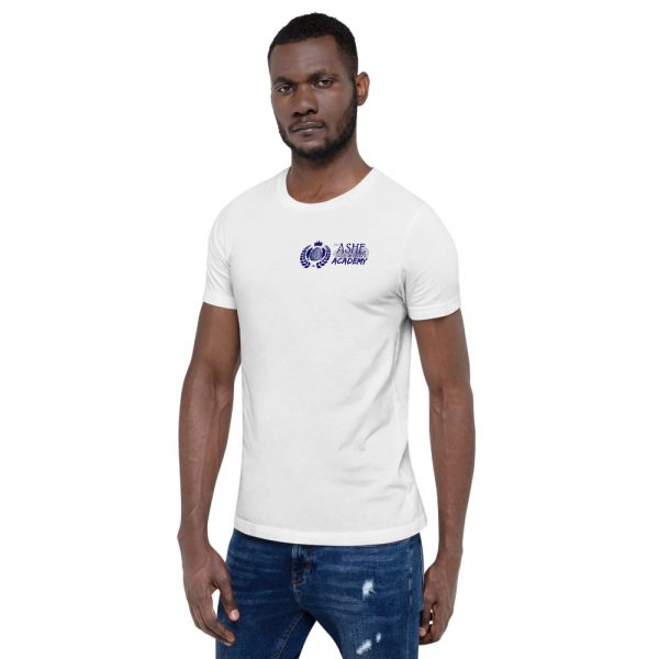 Man wearing White short sleeve Social Distancing T-Shirt facing right The Ashe Academy Store