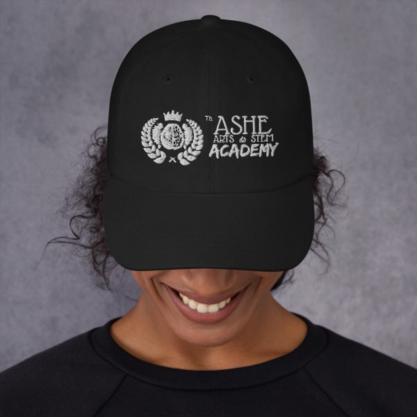 Woman wearing Black Ballcap front view The Ashe Academy Store