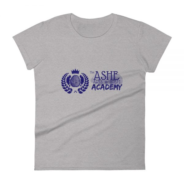 Women's Heather Grey front view short sleeve Social Distancing T-Shirt The Ashe Academy Store