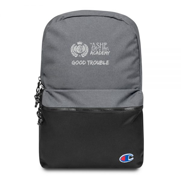Heather Grey / Black Good Trouble Backpack Front view The Ashe Academy Store