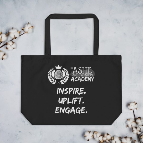 Black Tote Bag with background The Ashe Academy Store