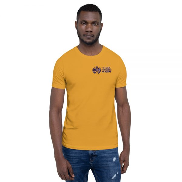 Man wearing Mustard short sleeve Social Distancing T-Shirt front view The Ashe Academy Store