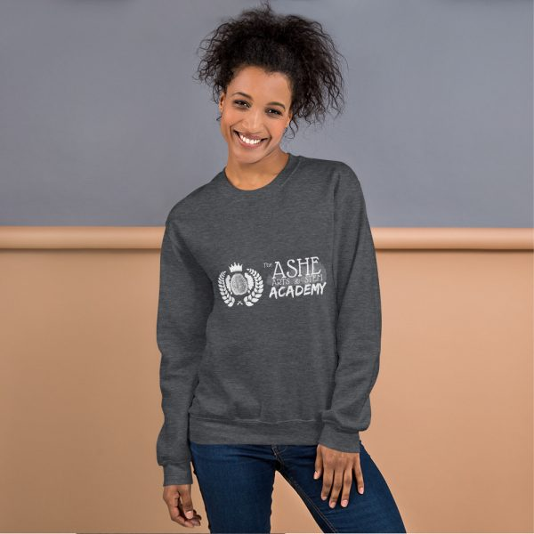 Woman with hair up wearing Dark Heather Sweatshirt standing at an angle front view The Ashe Academy Store
