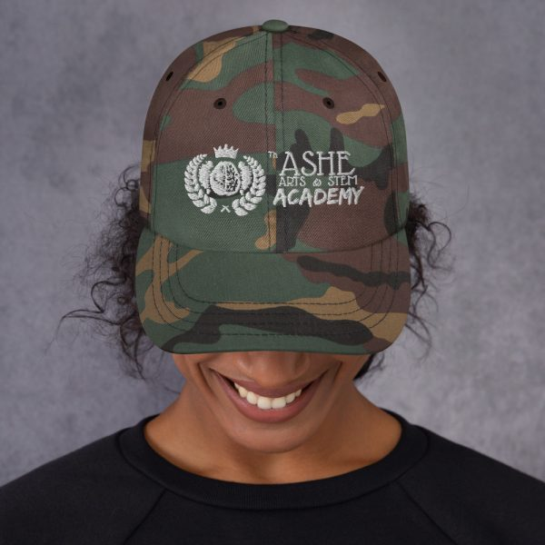 Woman wearing Green Camo Ballcap front view The Ashe Academy Store