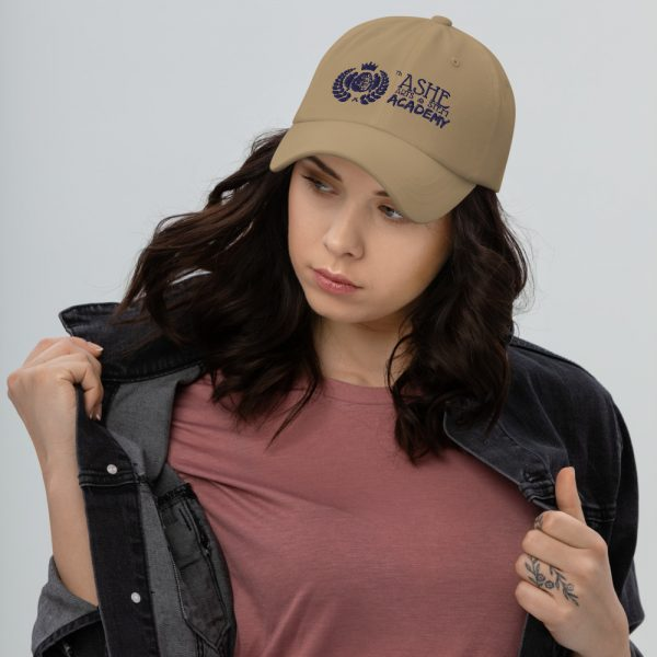 Woman wearing Khaki Ballcap facing right The Ashe Academy Store