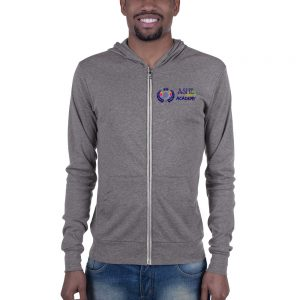 Man wearing Heather Grey Inspire Uplift Engage Zip Hoodie front view The Ashe Academy Store