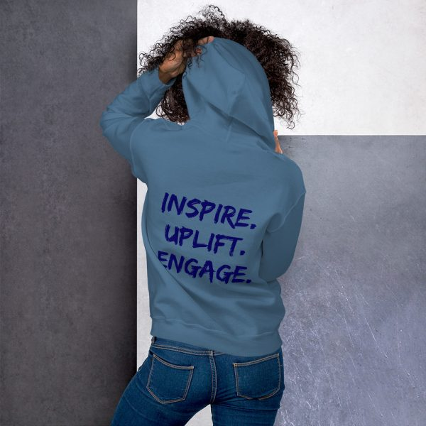 Woman wearing Indigo Blue Inspire Uplift Engage Hoodie back view The Ashe Academy Store