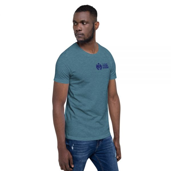 Man wearing Heather Deep Teal short sleeve Social Distancing T-Shirt facing left The Ashe Academy Store