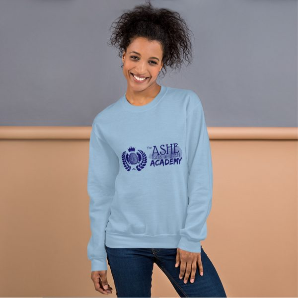 Woman with hair up wearing Light Blue Sweatshirt standing at an angle front view The Ashe Academy Store