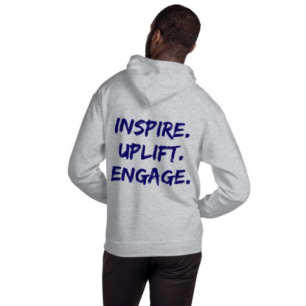 Man wearing Sport Grey Inspire Uplift Engage Hoodie with hood off back view The Ashe Academy Store