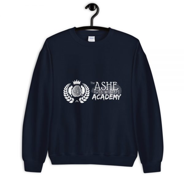 Navy Sweatshirt on hanger front view The Ashe Academy Store
