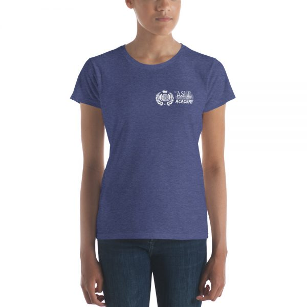 Woman wearing Heather Blue short sleeve Social Distancing T-Shirt front view The Ashe Academy Store