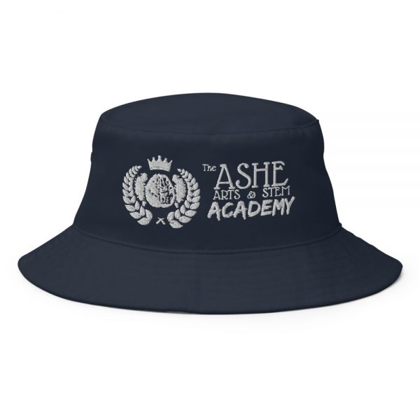 Navy Bucket Hat front view The Ashe Acdemy Store