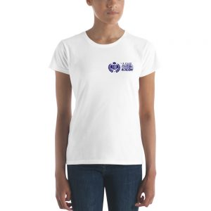 Woman wearing White short sleeve Social Distancing T-Shirt front view The Ashe Academy Store
