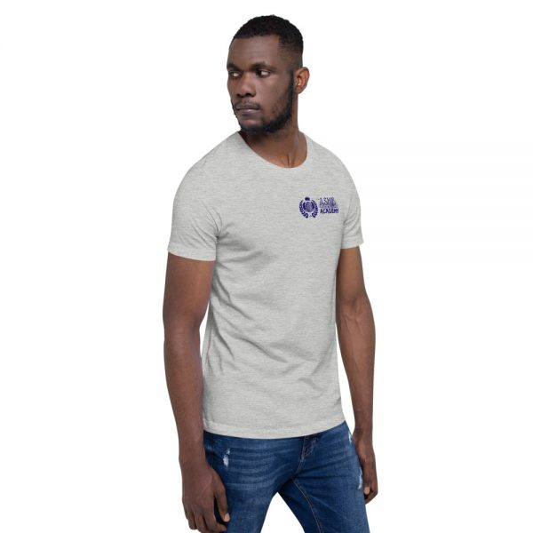 Man wearing Athletic Heather short sleeve Social Distancing T-Shirt facing left The Ashe Academy Store