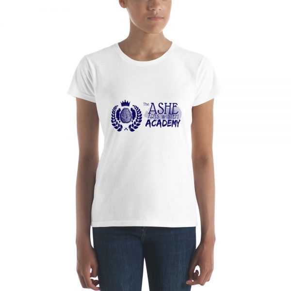 Woman wearing White short sleeve Social Distancing T-Shirt The Ashe Acadeny Store