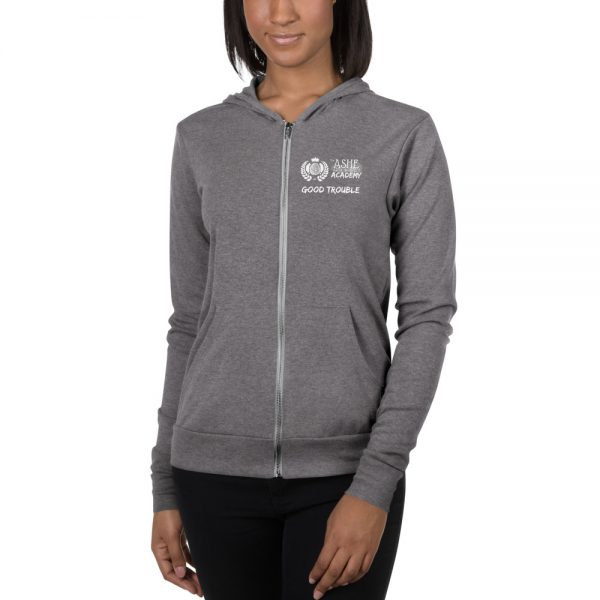 Woman wearing Grey Triblend Zip Hoodie front view The Ashe Academy Store