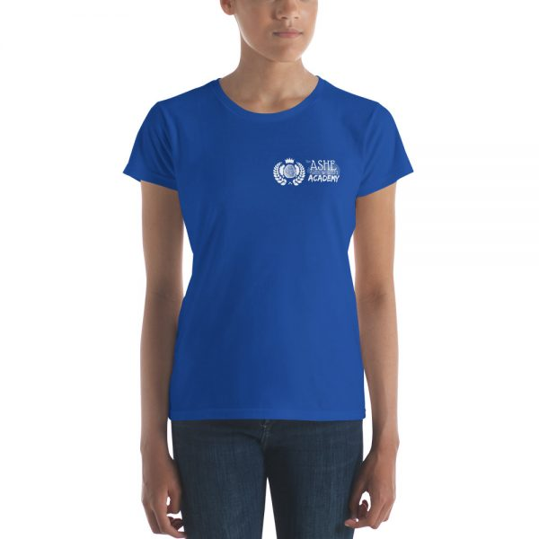 Woman wearing Royal Blue short sleeve Social Distancing T-Shirt front view The Ashe Academy Store