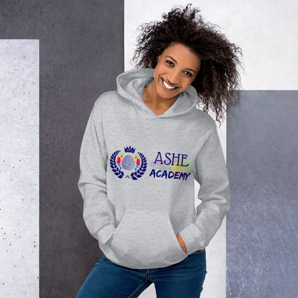 Woman wearing Sport Grey Inspire Uplift Engage Hoodie standing at an angle front view The Ashe Academy Store