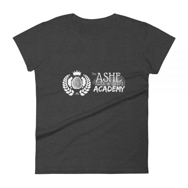 Women's Heather Dark Grey front view short sleeve Social Distancing T-Shirt The Ashe Academy Store