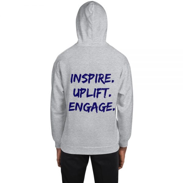 Man wearing Sport Grey Inspire Uplift Engage Hoodie with hood on back view The Ashe Academy Store