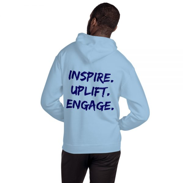 Man wearing Light Blue Inspire Uplift Engage Hoodie with hood off back view The Ashe Academy Store