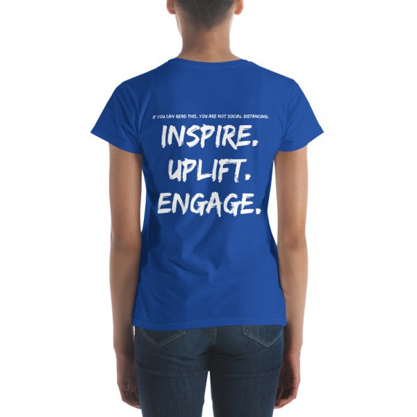 Woman wearing Royal Blue short sleeve Social Distancing T-Shirt back view The Ashe Academy Store