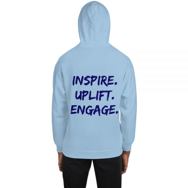 Man wearing Light Blue Inspire Uplift Engage Hoodie with hood on back view The Ashe Academy Store