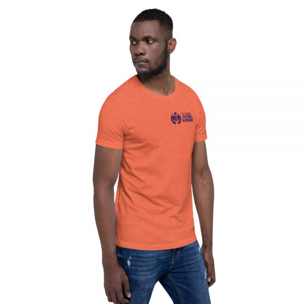 Man wearing Heather Orange short sleeve Social Distancing T-Shirt facing left The Ashe Academy Store