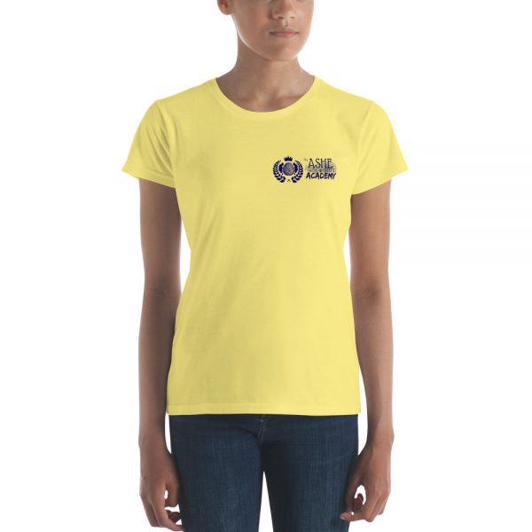 Woman wearing Spring Yellow short sleeve Social Distancing T-Shirt front view The Ashe Academy Store
