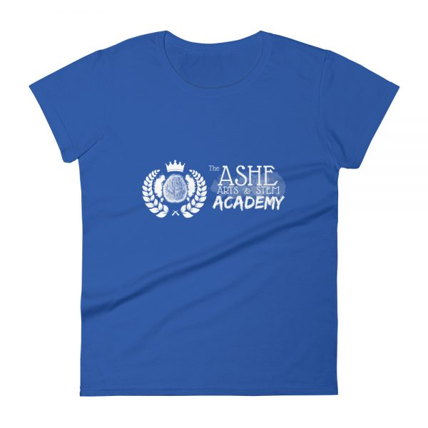 Women's Royal Blue front view short sleeve Social Distancing T-Shirt The Ashe Academy Store