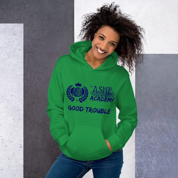 Woman wearing Irish Green Good Trouble Hoodie standing at an angle front view The Ashe Academy Store