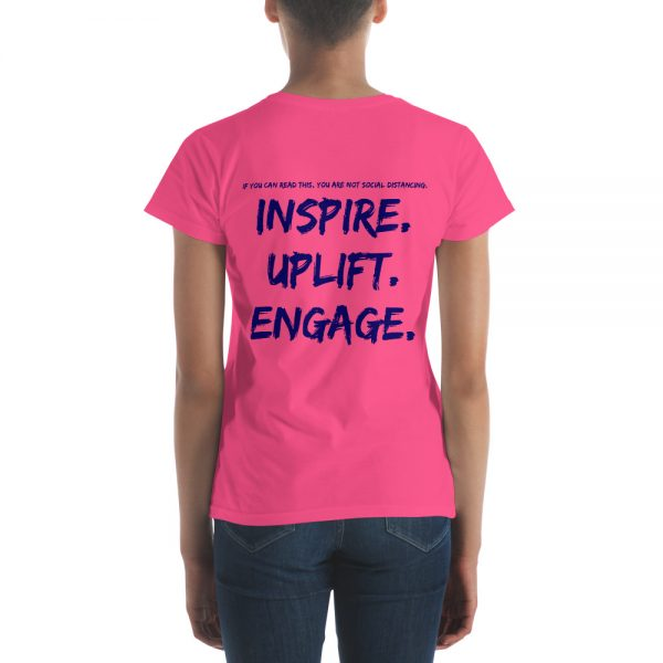 Woman wearing Hot Pink short sleeve Social Distancing T-Shirt back view The Ashe Academy Store