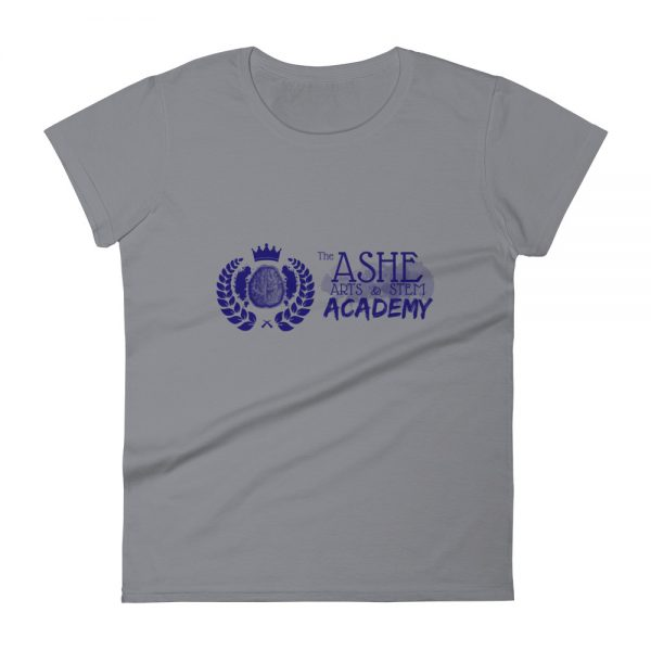 Women's Storm Grey front view short sleeve Social Distancing T-Shirt The Ashe Academy Store