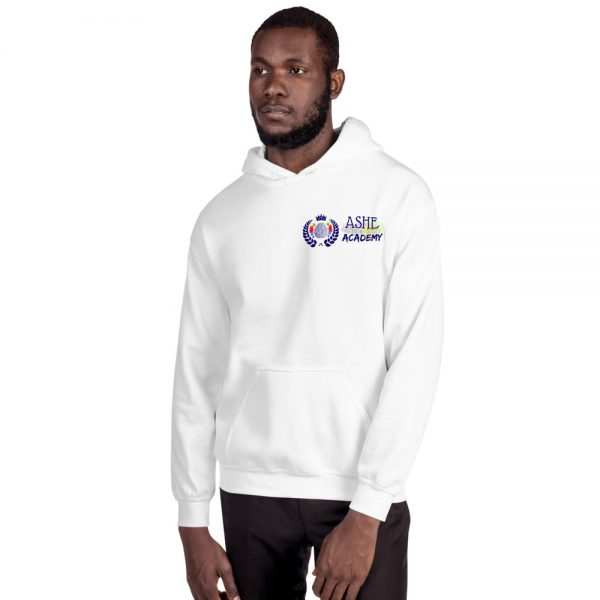 Man wearing White Inspire Uplift Engage Hoodie facing right The Ashe Academy Store