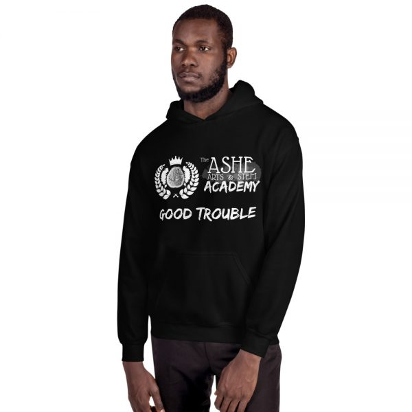 Man wearing Black Good Trouble Hoodie facing right The Ashe Academy Store