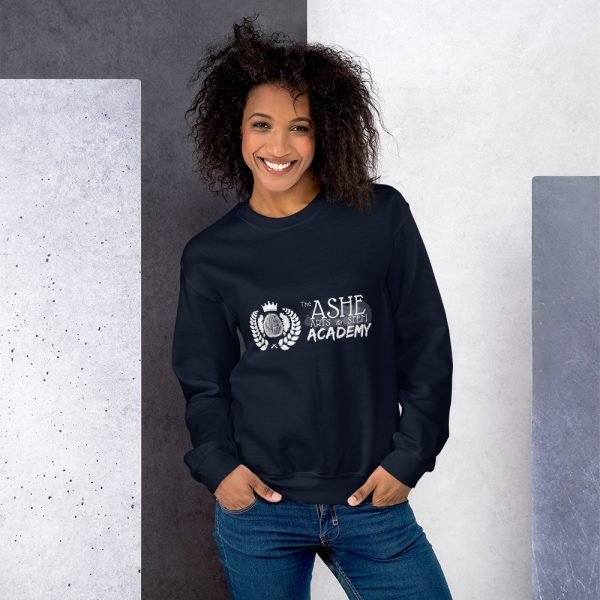 Woman with hair down wearing Navy Sweatshirt standing at an angle front view The Ashe Academy Store