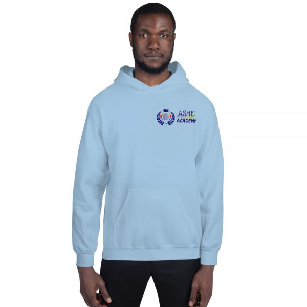 Man wearing Light Blue Inspire Uplift Engage Hoodie front view The Ashe Academy Store