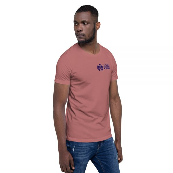 Man wearing Mauve short sleeve Social Distancing T-Shirt facing left The Ashe Academy Store