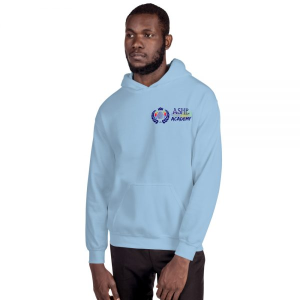 Man wearing Light Blue Inspire Uplift Engage Hoodie facing right The Ashe Academy Store