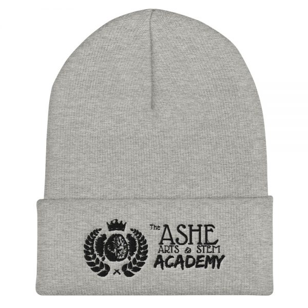 Heather Grey Beanie front view The Ashe Academy Store