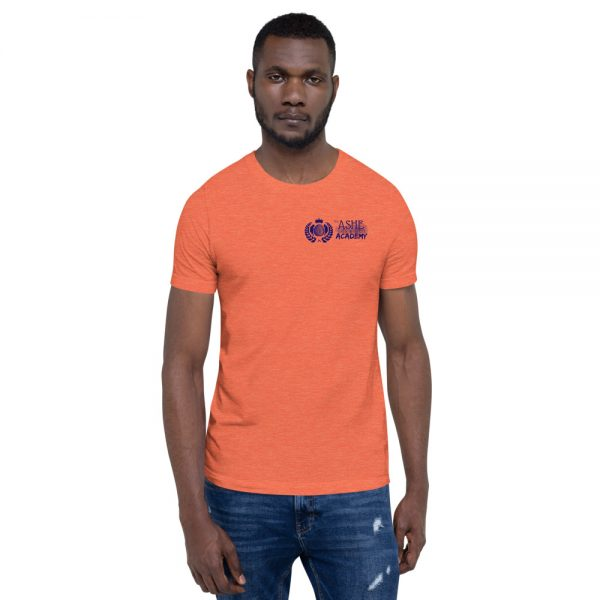 Man wearing Heather Orange short sleeve Social Distancing T-Shirt front view The Ashe Academy Store