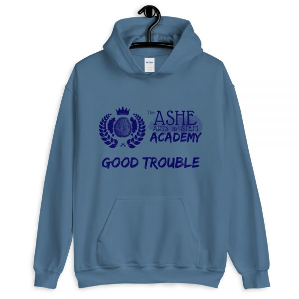 Indigo Blue Good Trouble Hoodie on hanger The Ashe Academy Store