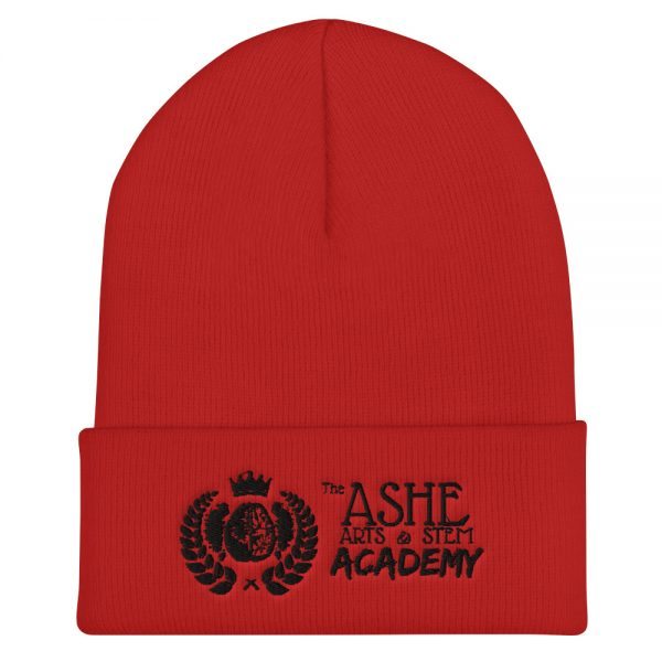 Red Beanie front view The Ashe Academy Store