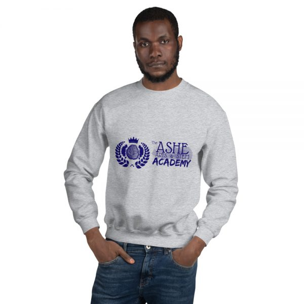 Man wearing Sport Grey Sweatshirt front view The Ashe Academy Store