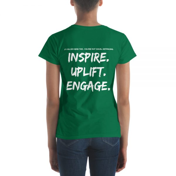 Woman wearing Kelly Green short sleeve Social Distancing T-Shirt back view The Ashe Academy Store